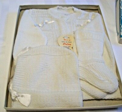 Vintage NOS Infant's White Knitwear Set In Box~Style CE 138/1