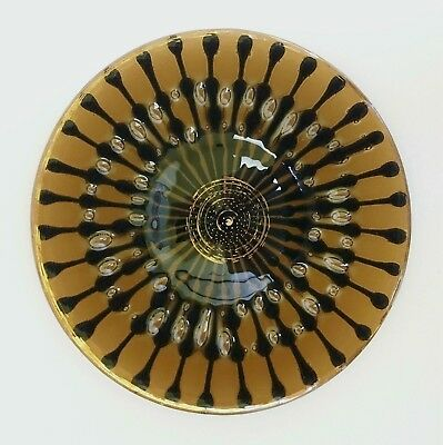 "France & Michael Higgins glass 7.5"" Classic Line plate rare brown w/ black gold"
