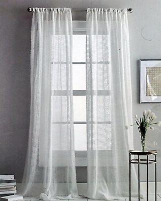 Dkny Sterling Sheer Rod Pocket Curtains Window Panels Pair 50 X 84 New