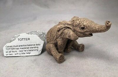 THE HERD Martha Carey Totter #3143 Elephant with Rock, Marty's Sculptures