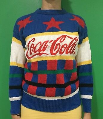 VINTAGE COKE COCA COLA SWEATER 1980s 80s Women's S Red Stars Bold Colors