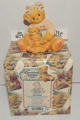 1998 Cherished Teddies MOM'S LOVE COMES ALL SIZES I Heart Mother Babies  NEW NIB