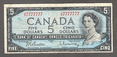 1954 Bank of Canada $5 SOLID DIGIT Serial 77777777 - Lucky 7's Numbered Note