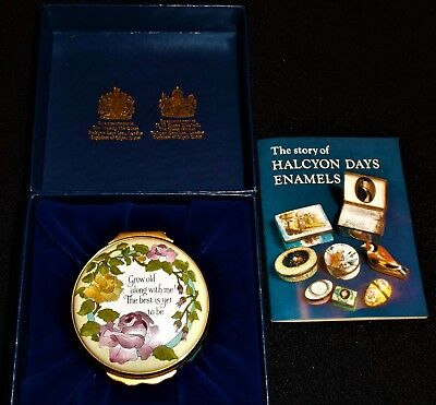 Halcyon Days Enamel Trinket Box With Robert Browning Quote and Roses