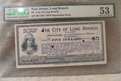 $5 depression script ~ 1934 ~ city of long branch nj ~ PMG 53 about uncirculated