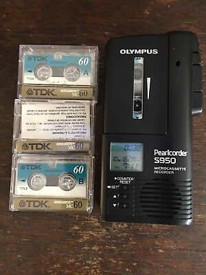 Olympus Pearlcorder S950 (3 Hours) Handheld Cassette Voice Recorder 3 cassettes