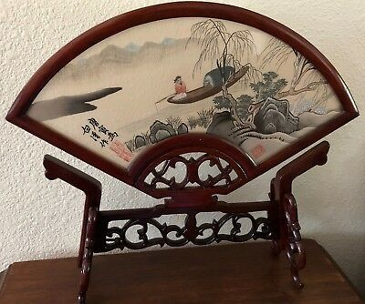 Chinese Double Sided Framed Silk Embroidery Fan In A Wood Frame