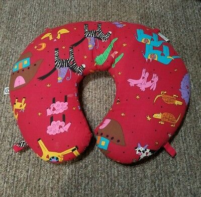 BOPPY PILLOW, red with comical animals, Noah's Ark, stars, dots, EUC