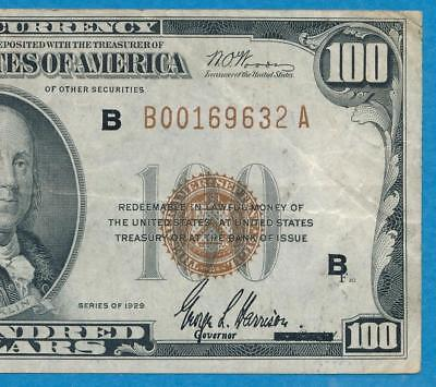 $100. 1929 New York  Brown Seal Federal Reserve Bank Note Choice Very Fine