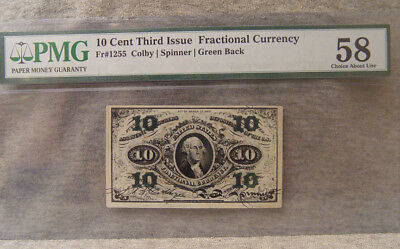 10 cent third issue fractional currency ~ PMG 58 choice about unc ~ fr# 1255