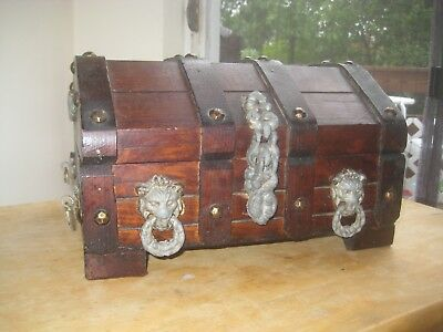 Vintage Wood Treasure Chest Box Lions Head Marked Mexico