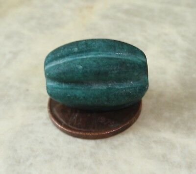 1 Rare Ancient Turquoise Tibet Melon Shape Bead   20x13mm
