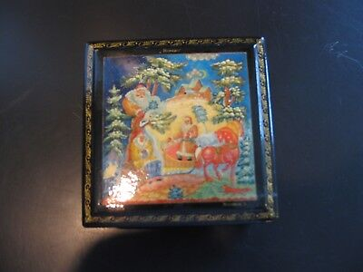 Vintage Russian  Lacquer Box Signed Santa Christmas Father Frost Horse Paperwork