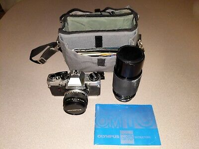 Vintage OLYMPUS 35mm Camera w/ Xtra Lens Bag Papers
