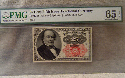 25 cent fifth issue fractional currency ~ PMG 65 gem uncirculated epq fr# 1308