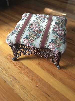 "Vintage Ornate Cast Iron Foot Stool / Ottoman 14"" X 8"" H. Flower Upholstery"