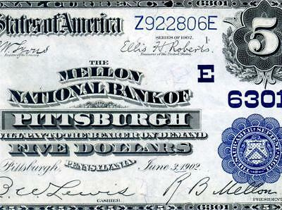HGR SUNDAY 1902 $5 Pittsburgh PA ((Mellon Nat'l Bank)) Appears GEM UNCIRCULATED
