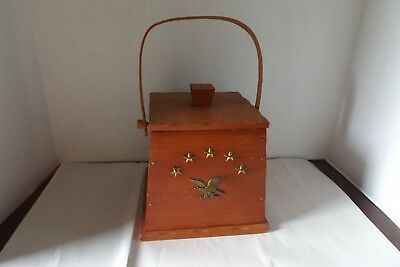 Antique Vintage Wooden Box With Handle And Eagle And Stars