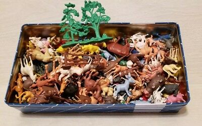 Tin full of Vintage Farm Animals, Wild Life Animals and More