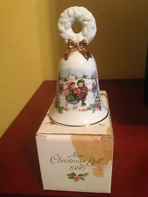 Avon Christmas (Ice Skaters) Porcelain Bell - 1986