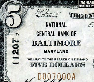 HGR SUNDAY 1929 $5 BALTIMORE Maryland ((COOL Serial#7000)) HIGH GRADE