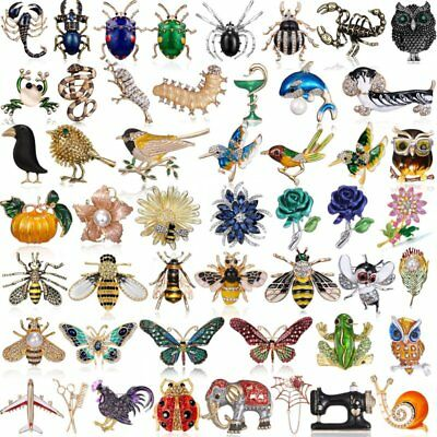 Fashion Crystal Pearl Bird Bee Butterfly Insect Plant Animal Brooch Pin Jewelry
