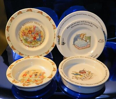 5 pc Lot BUNNYKINS and PETER RABBIT Royal Doulton and Wedgwood CHILDRENS Dishes