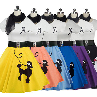 Hip Hop 50s Shop Womens Poodle Skirt Outfit Halloween or Dance Costume Set