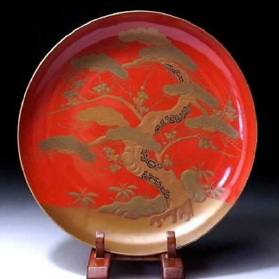 """QO5: Antique Japanese Lacquered wooden Sake Cup, Superb Gold MAKIE, 19C, 8.0"""""""