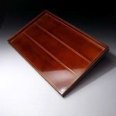 QD8: Vintage Japanese Lacuqered Wooden Serving Tray, Shunkei Lacquer Ware