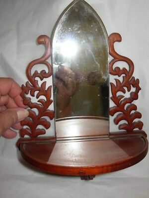 Vintage Mirrored Hinged Shelf Acorns Leaves Arts and Crafts Period Wood Scroll
