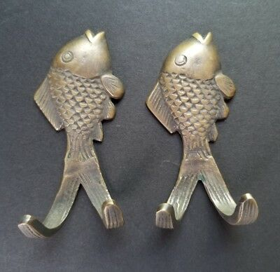 2 VINTAGE STYLE SOLID BRASS Country FISH Coat Towel HOOKS w.Bolts #Z23