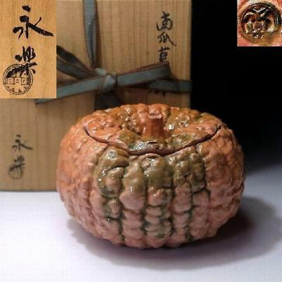 QJ4: Antique Japanese Pottery Container by Great potter, Zengoro Eiraku, Pumpkin
