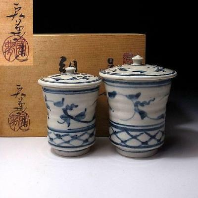 HK7: Vintage Japanese Pottery Tea cups, Kyo ware with Signed wooden box