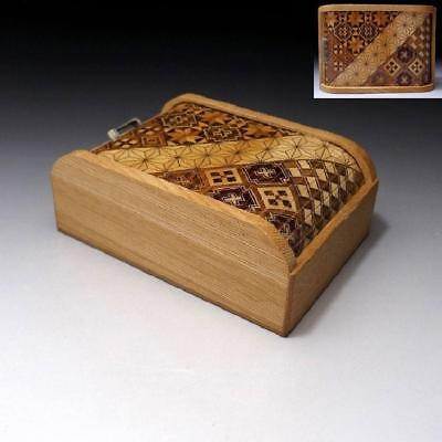 QT3: Vintage Japanese Hand-made Combined Wooden box with Slide lid, YOSEGI
