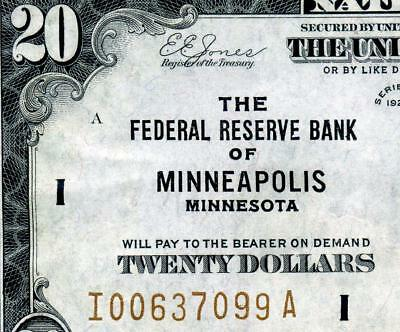 HGR SUNDAY 1929 $20 FRBN ((Minneapolis)) VERY HIGH GRADE