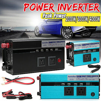 US Plug DC12V to AC110V Portable Car Power Inverter Charger Converter 1500W Watt
