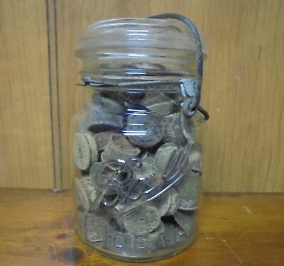 Antique Rustic Decor Used Brass Shotgun Shells in Mason Jar Metal Detector Find