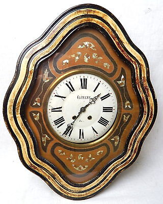 Antique French Victorian Bakers Frame Inlay Wall Clock Clement Japy Freres