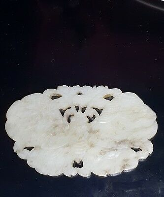 Mangificent Antique Chinese Carved Jade Butterfly