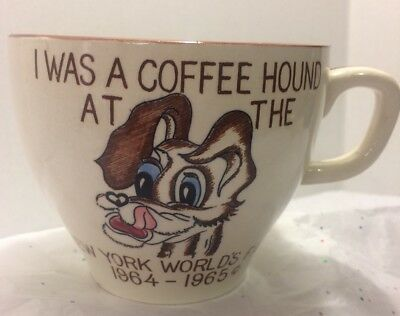 Orig 1964 - 1965 New York World's Fair Large Coffee 'Hound' Cup Dog  NYWF