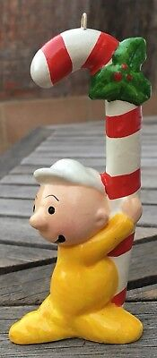 """4"""" Vintage 1981 Sweet Pea Popeye Baby Character Christmas Candy Cane Ornament"""