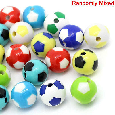 20 Large SOCCER BALL Round Acrylic Beads, bright colors, bubblegum 20mm bac0024