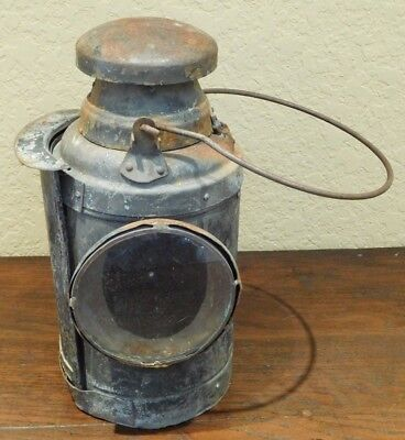 Rare Vintage Early Ship or Railroad Lantern-Light-Original Glass and Condition