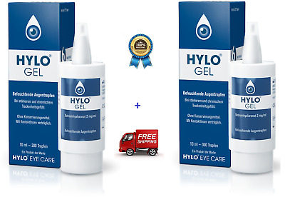 2x Ursapharm Hylo Gel 10ml , LUBRICANT eye drops with Sodium Hyaluronate (0.2%)