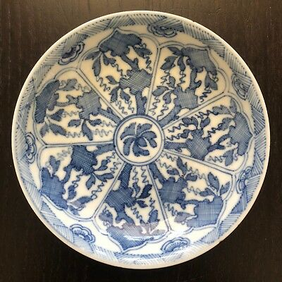 Fine 18/19C Antique SIGNED Kangxi Chinese Blue White Porcelain Plate Lingzhi Art