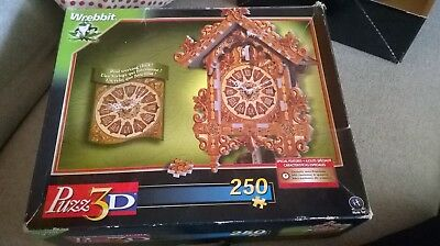 CUCKOO CLOCK (real working clock) PUZZ 3D puzzle Wrebbit used COMPLETE