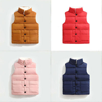 Kids boy girl Sleeveless Jacket Vest waistcoat Quilted warm fleece coat jackets
