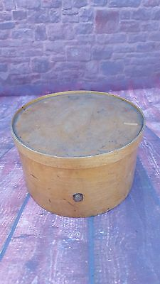 Vintage Old Rare Original Wooden Hat Travel Cheese Box Display