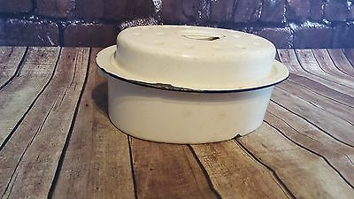 Vintage Antique Old White Enamel Roasting Serving Cooking Pot Dish With Lid